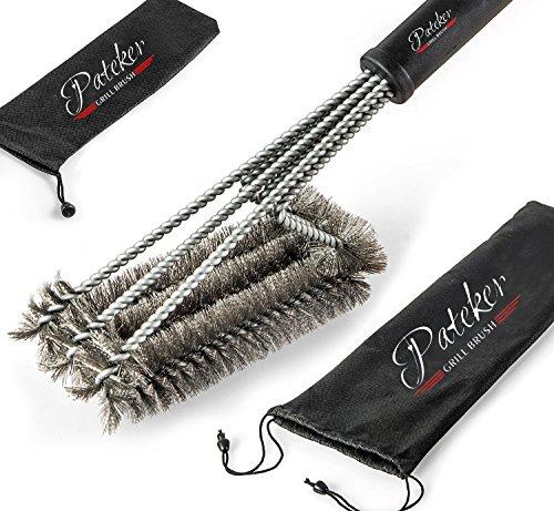 Pateker® 3 in 1 Grillbürste - Extra Langer Griff (45,7 cm) - Beste Grill und BBQ Reinigungswerkzeuge Zubehör -...