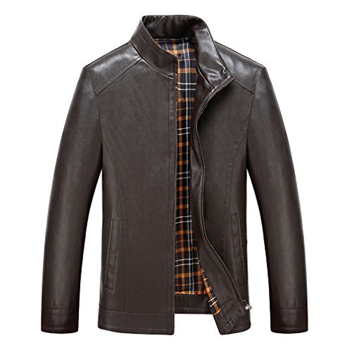 East Castle Men's Lambskin Leather Stylish Zip-Up Stand Collar Rider Jackets M74 Dark Brown(L/US Medium) (Side East Collar Leather)
