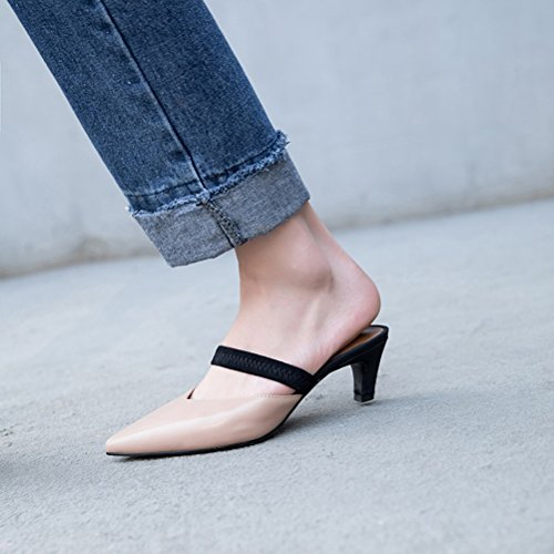 Slippers Shoes Pointed A Shoes Color Leather Yellow Stiletto Flops Flip Walking Comfort Black 35 Women's Beige Heel Size Toe amp; Summer AIqwz