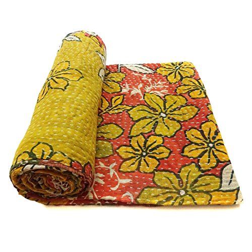 Vintage Kantha Quilt Embroidered Indian Cotton Bedspread Stylish Bedding Ralli