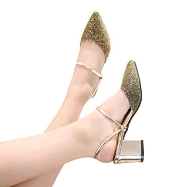 562d119518beb Amazon.com: Baiggooswt Fashion Women's Sequins Pointed Shoes High ...