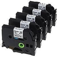 "Anycolor 5-Pack Equivalent TZ TZe TZ231 TZe231 TZ-231 TZe-231 Compatible for Brother Label Printer P-touch Labeling Tape, Black on White TZ Tape for Brother P-touch Label Makers, 0.47"" (12mm) x 8m (26.2ft)"