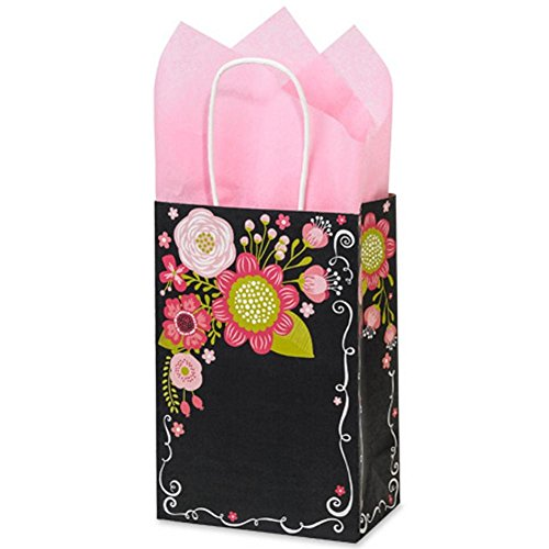Chalkboard Flowers Paper Shopping Bags - Rose Size - 5 1/2 x 3 1/4 x 8 3/8in. - 150 Pack by NW