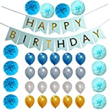 33 Pcs Blue Birthday Party Decoration Set for Boys girl includes Pom Poms Flowers Latex Balloons Happy Birthday Banner sign Baby Shower Decorations for Boy 1st Birthday Party Supplies Kit