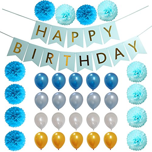 33 Pcs Blue Birthday Party Decoration Set for Boys girl includes Pom Poms Flowers Latex Balloons Happy Birthday Banner sign Baby Shower Decorations for Boy 1st Birthday Party Supplies Kit by John Roche Party Decor