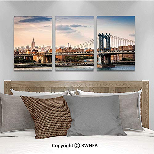 Canvas Wall Art HD Manhattan Bridge and The New York Skyline at Sunset East River Highrise Buildings Iconic Sites Modern Canvas Prints Painting Artworks Oil Painting Decorative,15.7