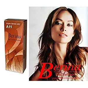 Amazon.com: Berina Permanent Hair Dye Color Cream  A11 Copper Blonde Made in Thailand By