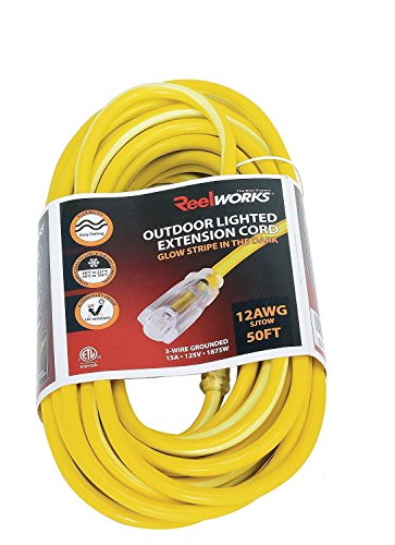 REELWORKS Extension Cord Long 50 FT Heavy Duty Commercial Premium Grade 12AWG SJTOW Cable Single Light Up Tap w/Glow Strip For Indoor & Outdoor Ultra Flexible Weather UV Oil Acid Ozone Resistant