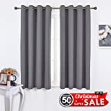 Nicetown Window Treatment Thermal Insulated Solid Grommet Blackout Curtains / Drapes for Bedroom (Set of 2 Panels,52 by 63 Inch,Grey)