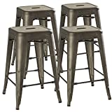 24'' Counter Height Bar Stools,! (RUSTIC GUNMETAL) by UrbanMod, [Set Of 4] Stackable, Indoor/Outdoor, Kitchen BarStools,! 330LB Limit, Metal Bar Stools! Industrial, Galvanized Steel, Counter Stools!