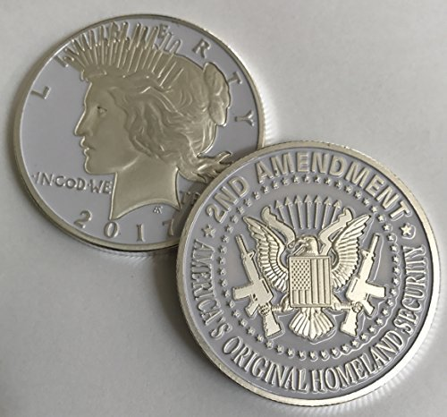 Price comparison product image 2nd Amendment SILVER & WHITE Liberty Coin. One-of-a-kin Item for the Right to Bear Arms. 1922 PEACE DOLLAR DESIGN