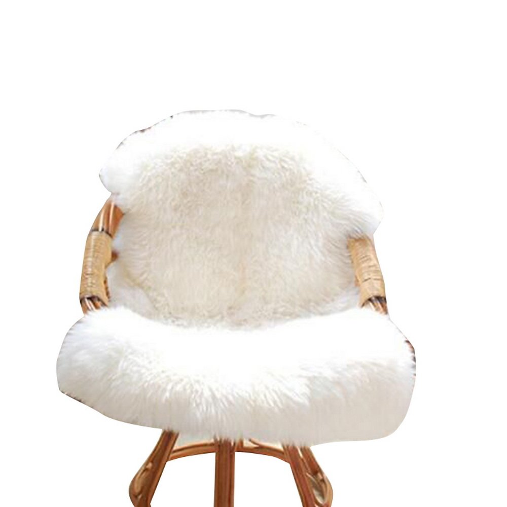URIJK Faux Fur Sheepskin Rug Faux Fleece Chair Cover Seat Pad Shaggy Area Rugs With Super Fluffy For Living Room Bedroom Sofa Floor, 23.6x35.4 in