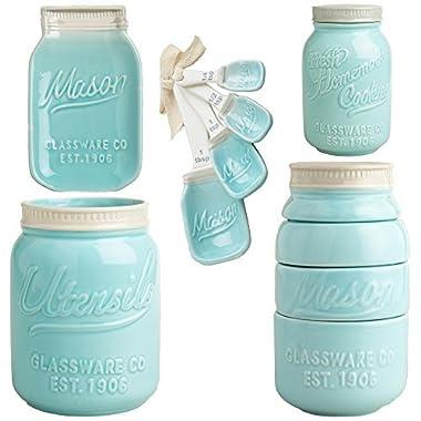 Mason Jar Ceramic Kitchenware  Complete Set : Measuring Cups and Spoons, Cookie Jar, Utensil Crock, Spoon Rest