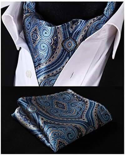 HISDERN Men's Ascot Paisley Floral Jacquard Woven Gift Cravat Tie Pocket Square Set