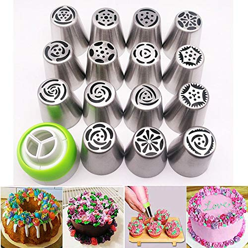 Amazon 16pcs Russian Piping Tips Cake Nozzles Icing Pastry Bag For Cupcake Decorating Supplies Set Kitchen Dining