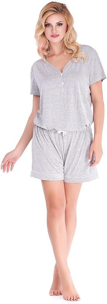 Mio Lounge Pinstripe Grey Jersey T-Shirt and Short PJ Set ML16J1PJSET