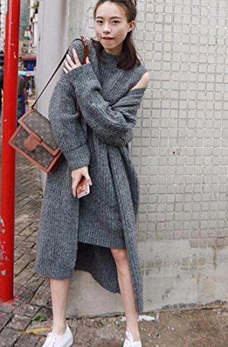 QIYUN.ZPara Mujer Suéter Holgado Jersey Largo De La Capa 2Pcs De La Chaqueta De Punto De Punto Abierto Gray