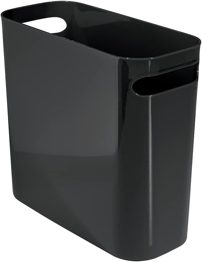 "iDesign Una Rectangular Trash Handles, Waste Basket Garbage Can for Bathroom, Bedroom, Home Office, Dorm, College, 10"" Inch"