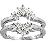 Sterling Silver Double Row Prong Set Ring Guard with Cubic Zirconia (0.37 ct. tw.)