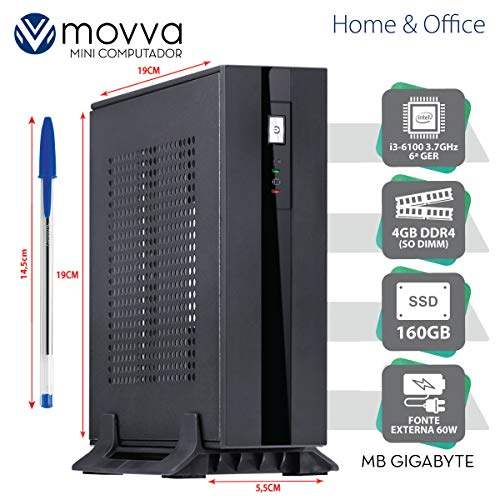 MINI COMPUTADOR HYDRO INTEL I3-6100 3.7GHZ 6ª GER. MEM. 4GB SSD 160GB HDMI/DISPLAYPORT FONTE 60W LINUX - MVHYMI3H1101604 - MOVVA