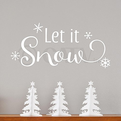 Let it Snow with snowflakes wall decal saying vinyl lettering quote sticker self adhesive Christmas craft (White) for $<!--$12.99-->
