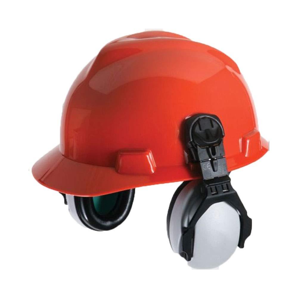FS Head-mounted Noise-proof Earmuffs,Noise-proof Earmuffs Special Earmuffs For Helmet-type Helmet Construction Noise Reduction 25 Decibels (Color : Earmuffs+helmet)