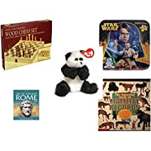 """Children's Fun & Educational Gift Bundle - Ages 6-12 [5 Piece] - Classic Wood Folding Chess Set Game - Star Wars 2-Sided Puzzle Tin - Ty Attic Treasures Checkers the Black and White Panda Bear 8"""" -"""