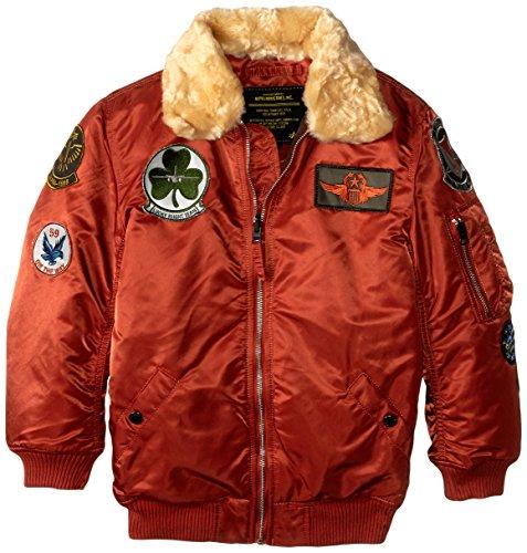 Alpha Industries Big Boys N-3B Maverick Coat, Rust, Large/14-16
