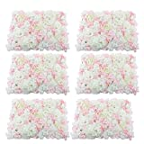 MonkeyJack 6 Pieces Romantic Artificial Flowers Wall Panel Wedding Venue Floral Decoration Pink