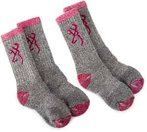 Browning Hosiery Unisex Child Kids Merino Wool Blend Sock, 2 Pair Pack (Fuschia, Small)
