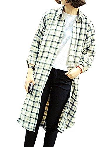 テキスト二度リビジョン[MONFUTUR(モンフチュール)] シャツワンピース レトロ 長袖 チェック 柄 ロング デザイン レディース