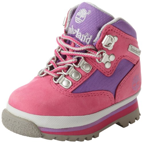 Timberland Euro Hiker Leather and Fabric Boot (Toddler/Little Kid/Big Kid),Pink/Lilac,5.5 M US Big Kid (Timberland Infant Boots)