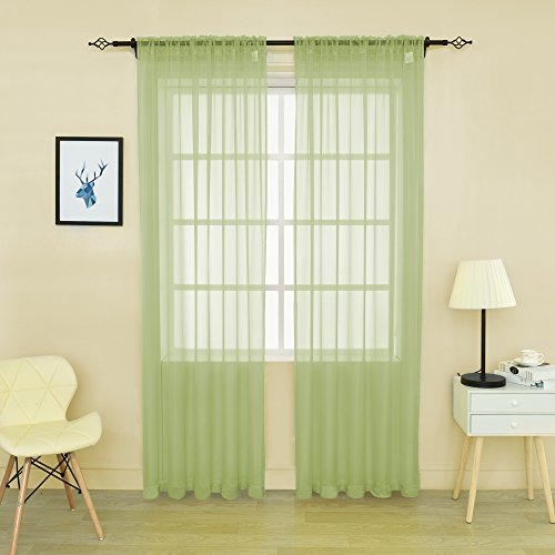 HOLKING 2 Piece Sheer Window Curtains Panels 84 inch length Green Rod Pocket Sheer Voile Window Curtains Toal is 104 inches wide by 84 inches long (Voile Green Curtains)