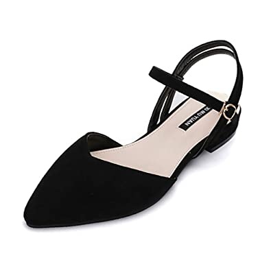 09a0d50895cf Wollanlily Women s Pointy Toe Flats D Orsay Buckle Ankle Strap Casual  Comfort Ballerina Ballet Flat