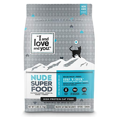 I and love and you Nude Dry Cat Food - Grain Free Limited Ingredient Kibble, Whitefish + Chicken, 5-Pound Bag (Best Low Carb Cat Food)