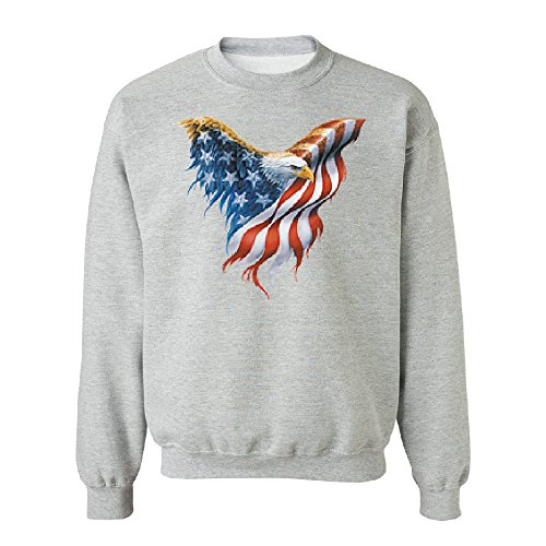 Bald Eagle USA Flag Wings Unisex Crewneck Patriotic 4th of July Sweater Sports Grey Large -