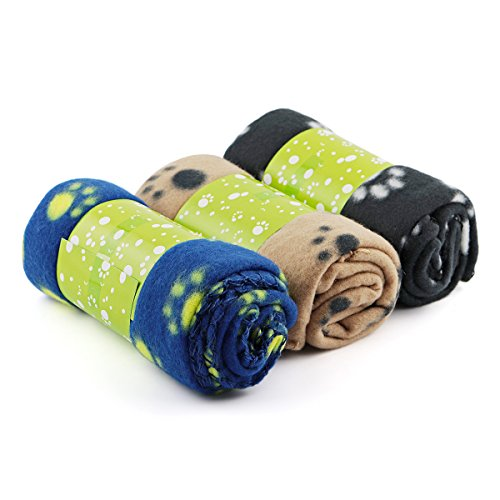 Price comparison product image Rainbowee Set of Pet Small Dog Puppy Cat Blanket Fleece Bed Mat Cover with Paw Prints Assorted Color (3 Pieces)