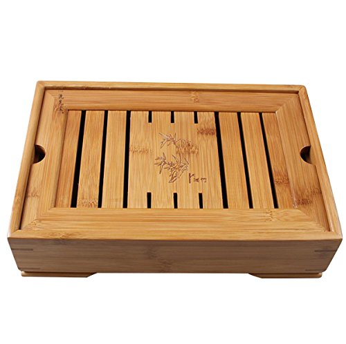 Hoobar Reservoir Type Bamboo Tea Tray - Chinese Kungfu Tea Table Serving Tray Box for Kungfu Tea Set
