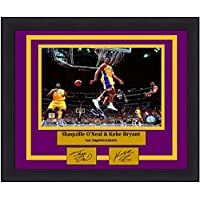 "$89 » Lakers Shaquille O'Neal & Kobe Bryant 8"" x 10"" Framed and Matted Basketball Photo with Engraved Autographs"