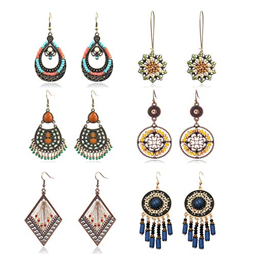 LANTAI 6 Pairs Boho Chic Vintage Metal Bead Earrings Set-Metal Bead Pendant Tassel Earrings Set for Women Girls Gift Jewelry ()