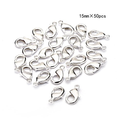 Clasps Silver Plated Beading (BRCbeads Lobster Clasp Silver Plated Jewelry Lobster Claw Clasp Findings 15mm 50pcs for Jewelery Making)