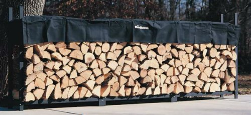 The Woodhaven 12 Foot Firewood Log Rack with Cover by The Woodhaven