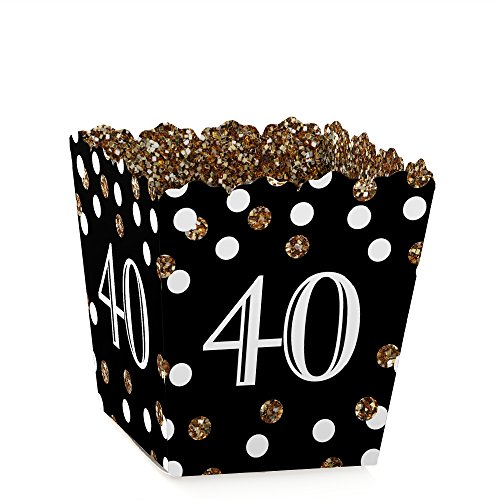 (Big Dot of Happiness Adult 40th Birthday - Gold - Party Mini Favor Boxes - Birthday Party Treat Candy Boxes - Set of 12)