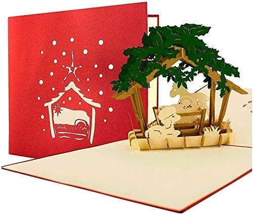 Tarjeta de Navidad (con sobres, Belén, cupones, tarjeta plegable ...