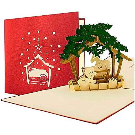 Biglietti Di Auguri Di Natale Per Bambini.Biglietto Di Natale Con Presepe Nativita 3d A Comparsa