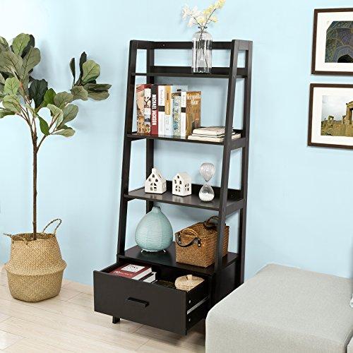 Haotian FRG116-SCH, Black Storage Display Shelving Ladder Shelf Bookcase with Drawer and 4 Shelves, Bathroom Cabinet