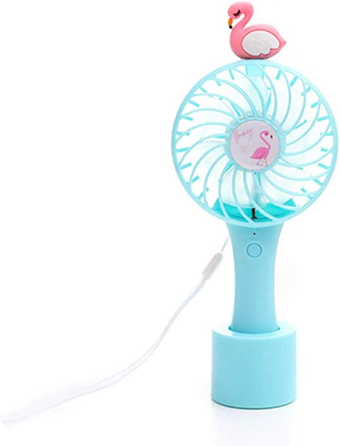 Opopark USB Small Handheld Mini Fan Cartoon Portable Rechargeable Adjusted Third Speed Fan Halter F H01