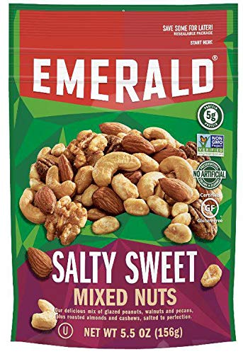 Emerald Salty Sweet Chocolate Peanut Butter Mixed Nuts, 5.5 Ounce - 6 per case.