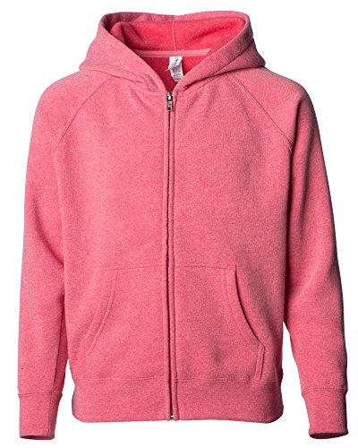 Global Blank Small Kids Lightweight Zip up Fleece Light Pink Hoodie for Teen Girls and Boys