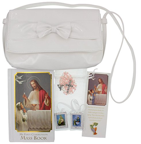 - Girl First Communion Gift Set Purse, Missal, Rosary and Pouch, Scapular, Chalice Pin, Gift Box